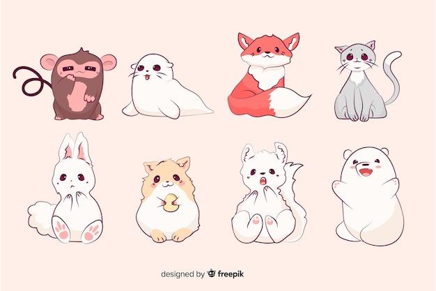 Collezione di animali piccoli simpatici cartoni animati
