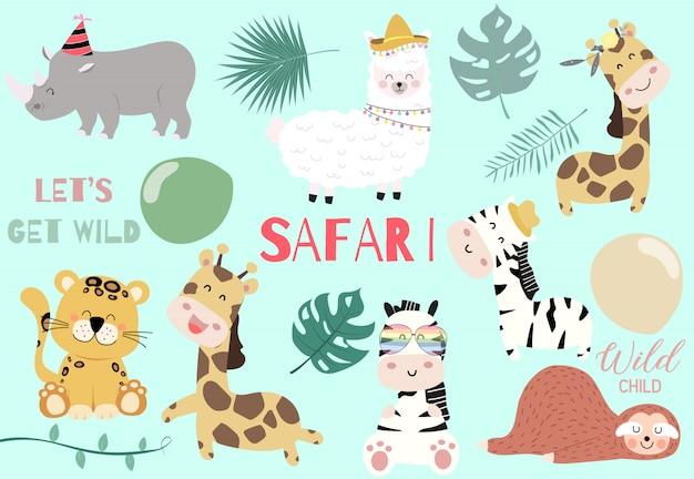 Collezione di animali selvatici con giraffa, tigre, zebra, bradipo, lama