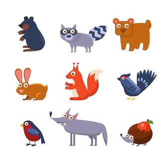 Collezione di animali selvatici della foresta