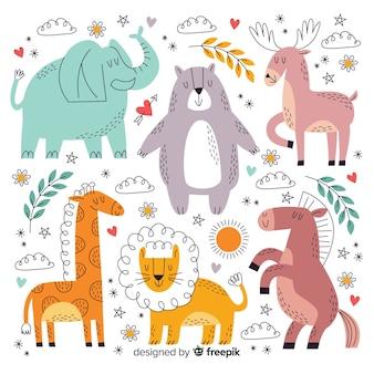 Collezione di animali simpatico cartone animato