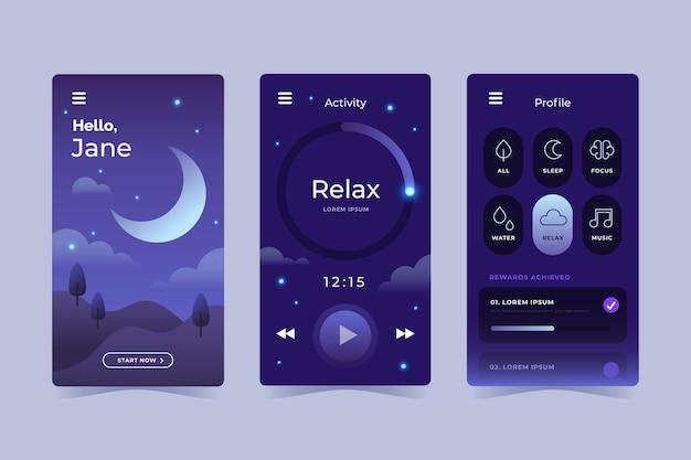 Collezione di app di meditazione dal design piatto