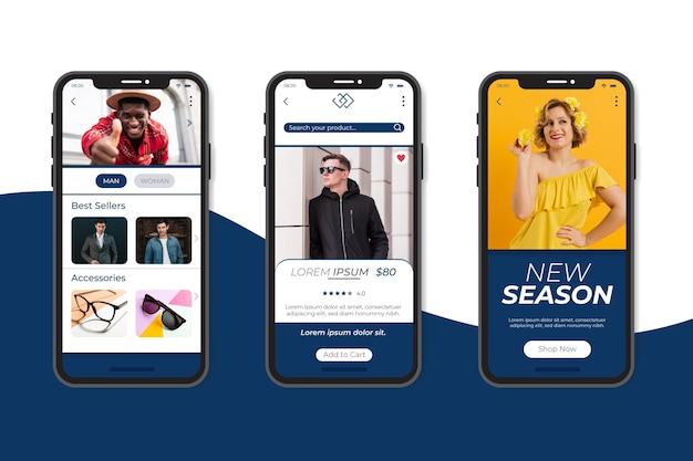Collezione di app per lo shopping di moda