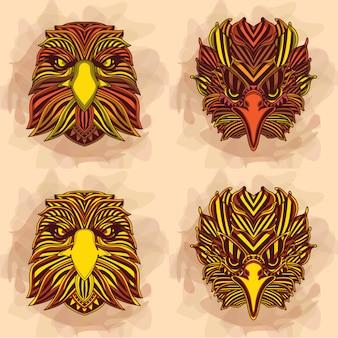 Collezione di aquila in colori caldi