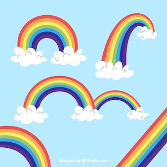 Collezione di arcobaleni con forme diverse in stile piano