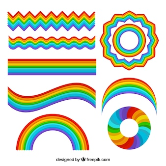 Collezione di arcobaleni con forme diverse