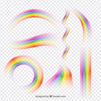 Collezione di arcobaleni in diverse forme