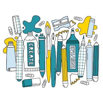 Collezione di articoli di cancelleria disegnata a mano