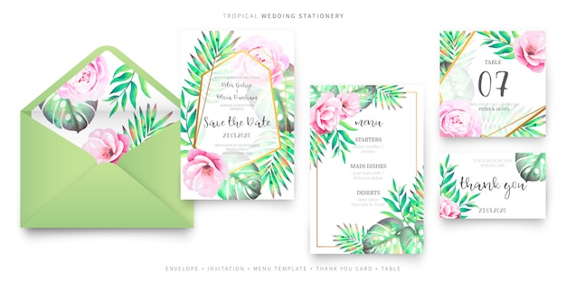 Collezione di articoli di cancelleria per matrimoni tropicali