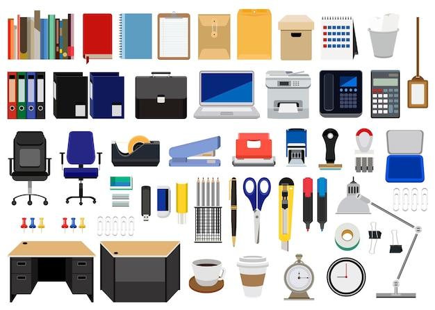 Collezione di articoli di cancelleria per ufficio