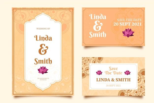 Collezione di articoli di cartoleria matrimonio indiano
