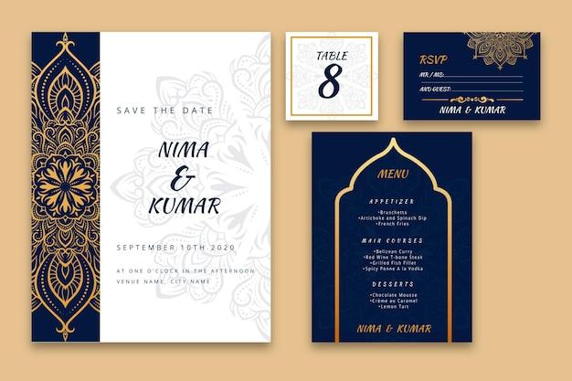 Collezione di articoli di cartoleria per matrimoni indiani