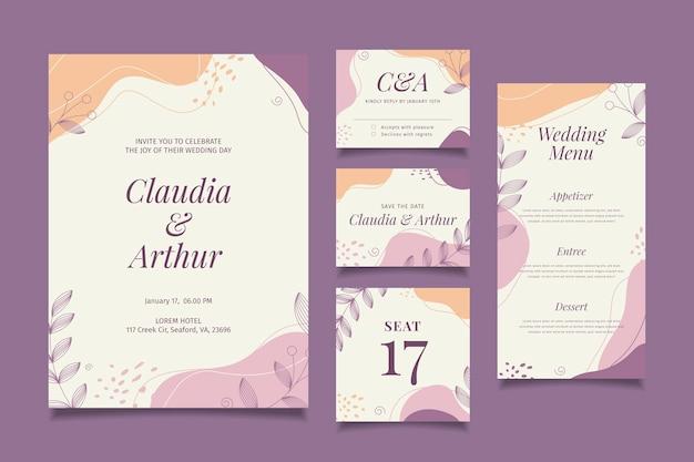 Collezione di articoli di cartoleria per matrimoni