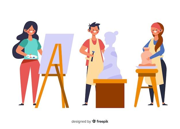 Collezione di artisti al lavoro con ceramiche
