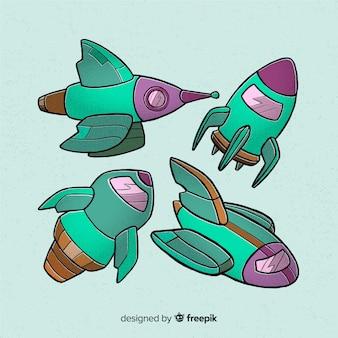 Collezione di astronavi disegnate a mano
