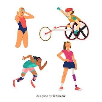 Collezione di atleti disabili disegnata a mano