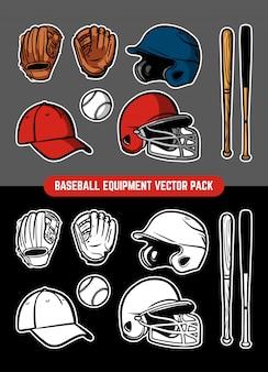 Collezione di attrezzature da baseball