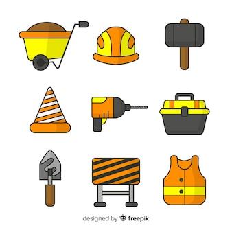 Collezione di attrezzature da costruzione disegnati a mano