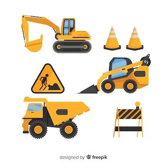 Collezione di attrezzature per l'edilizia piane