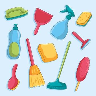 Collezione di attrezzature per la pulizia delle superfici