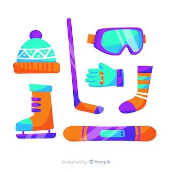 Collezione di attrezzature per sport invernali