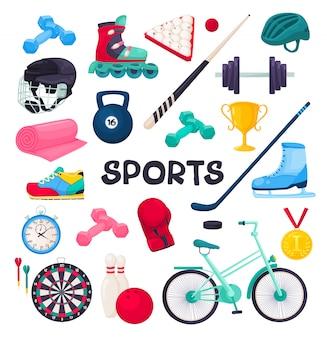 Collezione di attrezzature sportive