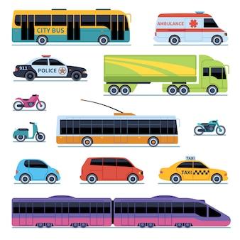 Collezione di auto. trasporto di veicoli in città. auto, scooter moto. insieme isolato auto urbano urbano di vista laterale