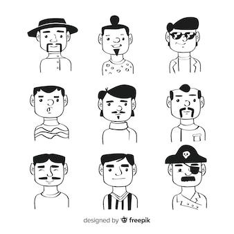 Collezione di avatar di persone disegnate a mano