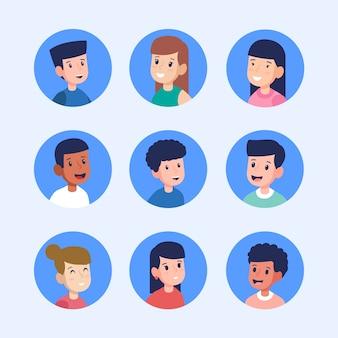 Collezione di avatar di persone diverse