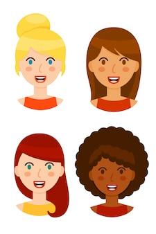 Collezione di avatar donne diverse isolato su sfondo bianco.