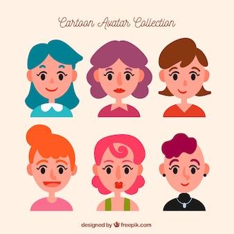 Collezione di avatar femminili di sei