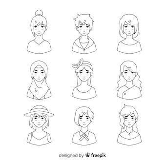 Collezione di avatar incolore disegnati a mano