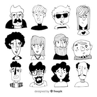 Collezione di avatar incolore persone disegnate a mano