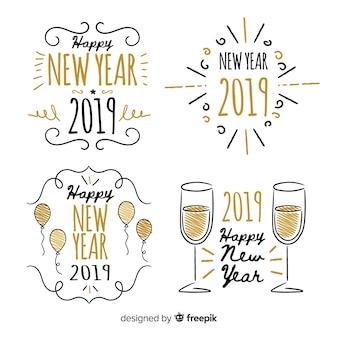 Collezione di badge 2019 del nuovo anno