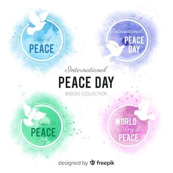 Collezione di badge acquerello giornata della pace