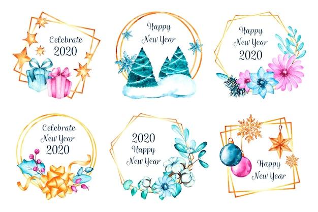 Collezione di badge acquerello nuovo anno 2020