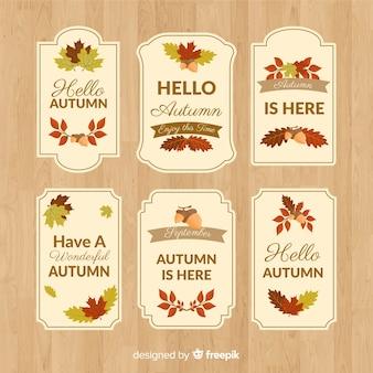 Collezione di badge autunno design piatto