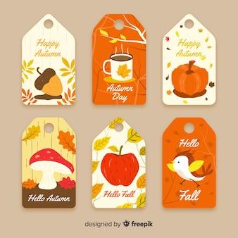 Collezione di badge autunno disegnato a mano
