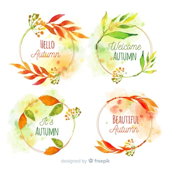Collezione di badge autunno disegno ad acquerello