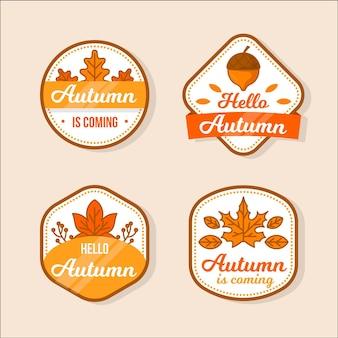 Collezione di badge autunno piatto