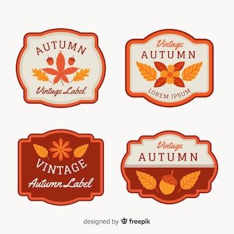 Collezione di badge autunno stile vintage