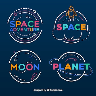 Collezione di badge avventura spaziale
