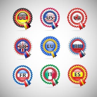 Collezione di badge bandiera di diversi paesi