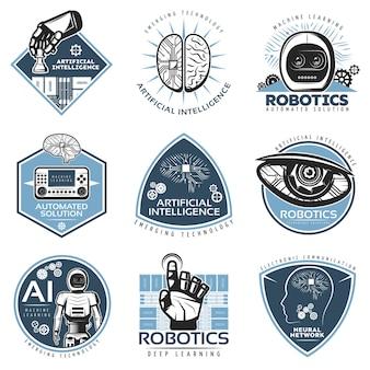 Collezione di badge colorati innovazioni futuristiche