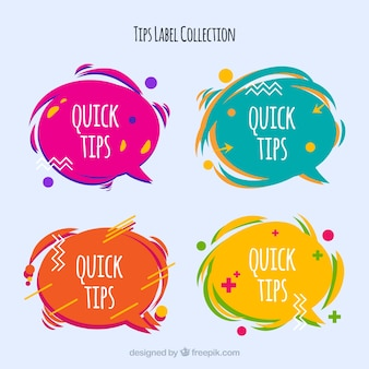 Collezione di badge consigli con design piatto
