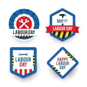 Collezione di badge creativi per la festa del lavoro