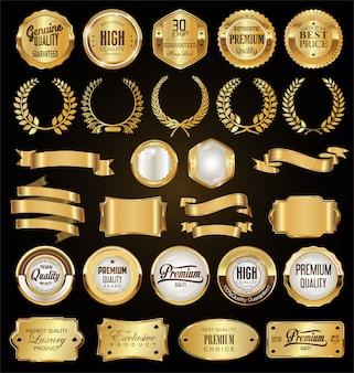 Collezione di badge d'oro etichette allori e nastri