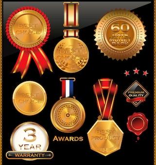 Collezione di badge d'oro