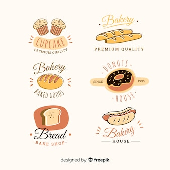 Collezione di badge da forno disegnata a mano
