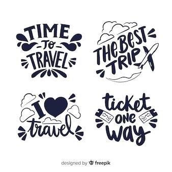 Collezione di badge da viaggio calligrafici