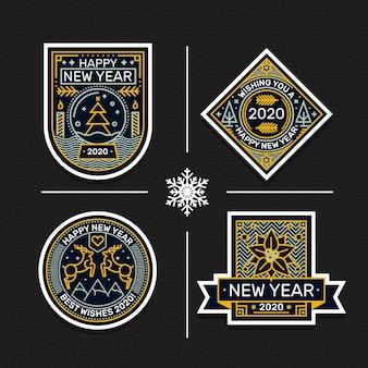 Collezione di badge del nuovo anno 2020 disegnata a mano